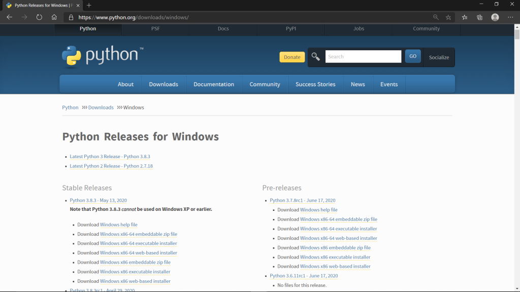 Python releases for windows.
