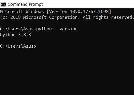 Install Python on Linux , cmd screenshot